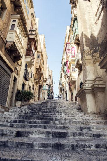 Ancient steps & architecture in Valletta's old town, Malta